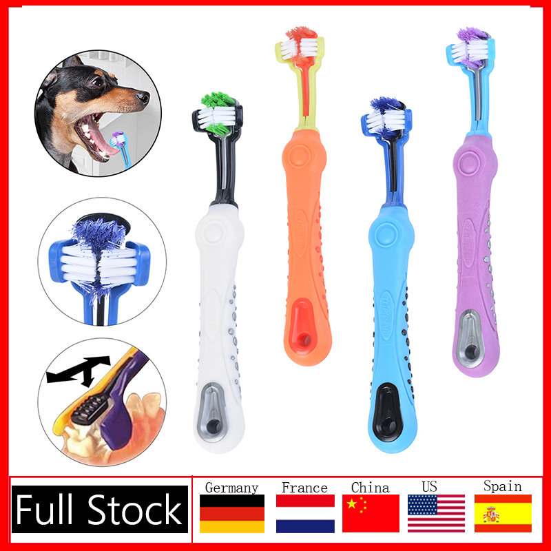 Three Sided Pet Toothbrush Dog Brush Addition Bad Breath Tartar Teeth Care Dog Cat Cleaning Mouth Dog Cat Cleaning Supplies 7
