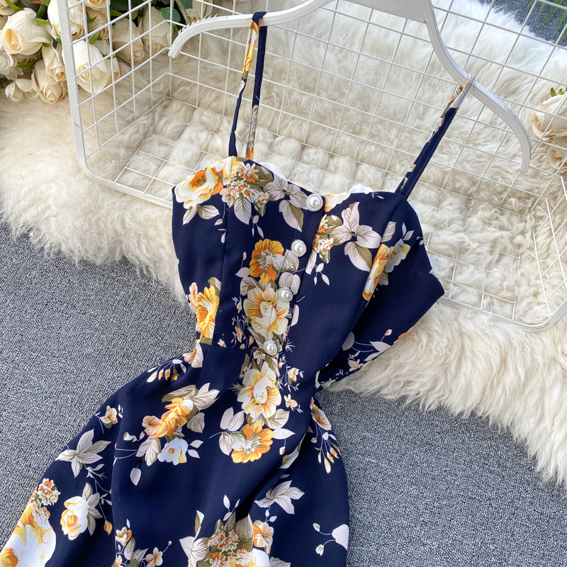 Spaghetti Strap Flower Print Split Bohemian Bandage Dress 11