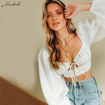 Macheda French Romance White Crop Tops Women Autumn Sexy  Hollow Out Long Sleeve V Neck Top Ladies Casual Solid Blouses New 2