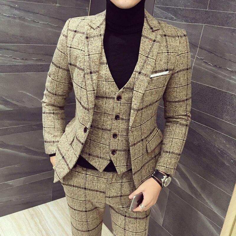 New Suit Jacket+Vest+pants Three Pieces Set Men Plaid Suits Asia Size M-5XL High Quality Tuxedo Mens