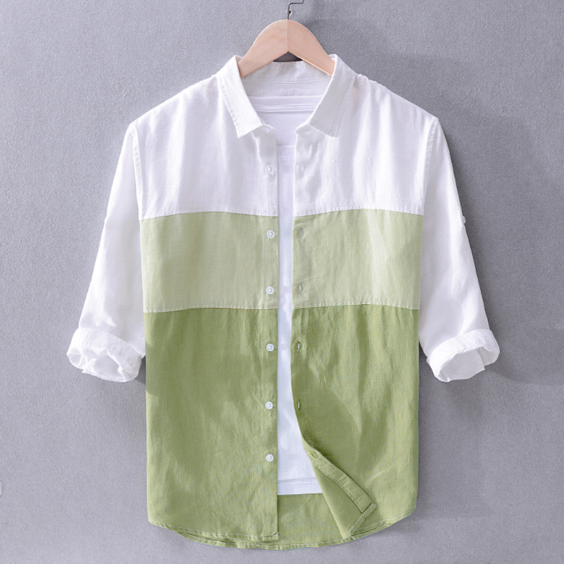 2020 Men Spring Summer Harajuku Japan Style Fashion Color Gradient Patchwork High Quality Linen Three Quarter Male Casual Shirts