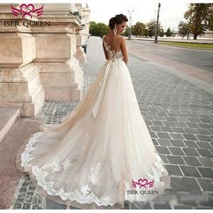 Image 2 - Sexy A Line Lace Wedding Dress  Romantic Robe De Mariage vestido de noiva Sheer Neck Illusion elegant Wedding Dresses W0047