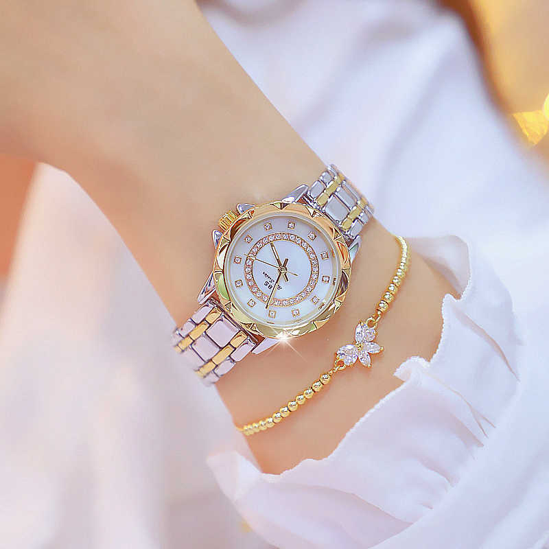 Diamentowy zegarek damski luksusowej marki 2019 Rhinestone eleganckie panie zegarki Rose złoty zegar zegarki dla kobiet relogio feminino