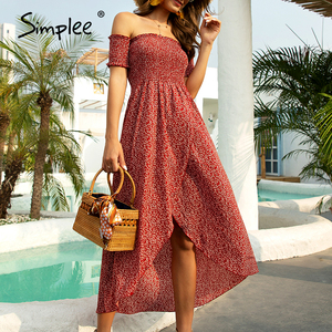 Image 3 - Simplee Sexy off shoulder women dress Floral print ruched high waist red party tube dress Casual beach maxi retro summer dress