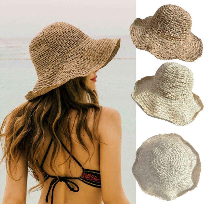 Sommer Elegante Casual Mode Damen Faltbare Wide Brim Floppy Sun Hüte Frauen Urlaub Stroh Strand Hüte
