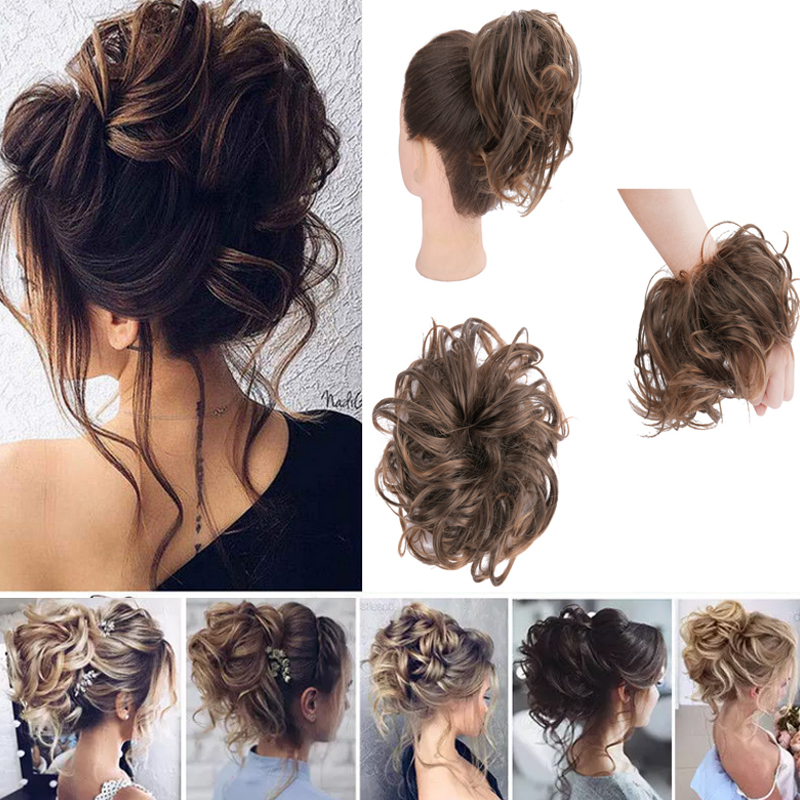 Synthetic Hair Ring Messy Wrap For Hair Extension Donut Curly  Rubber Band Languid Women Hair Tail Ponytail Accessory