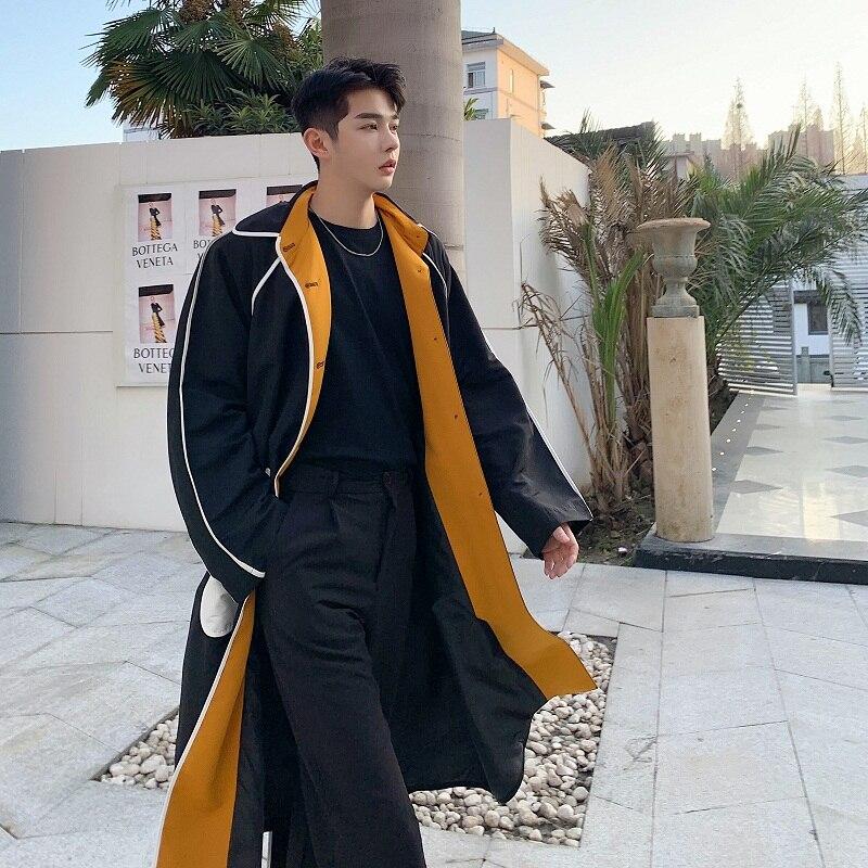 Men Vintage Fashion Casual Loose Trench Coat Outerwear Male Japan Korea Style Long Windbreaker Jacket Cardigan Overcoat