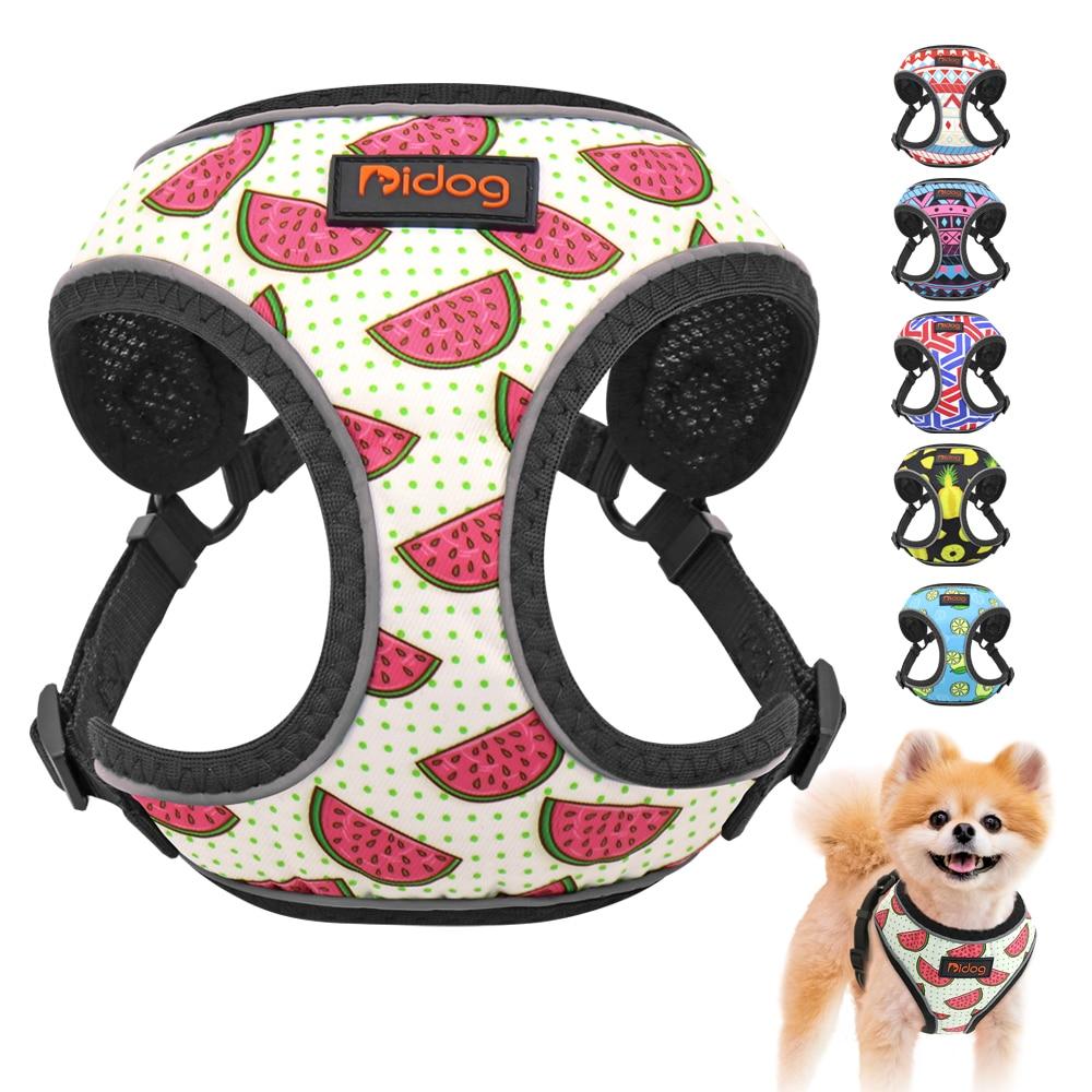 Pettorina per cani riflettente in Nylon per cani imbracatura per Bulldog francese stampata cucciolo pettorina per cani di piccola taglia media per cani Chihuahua Walking 1