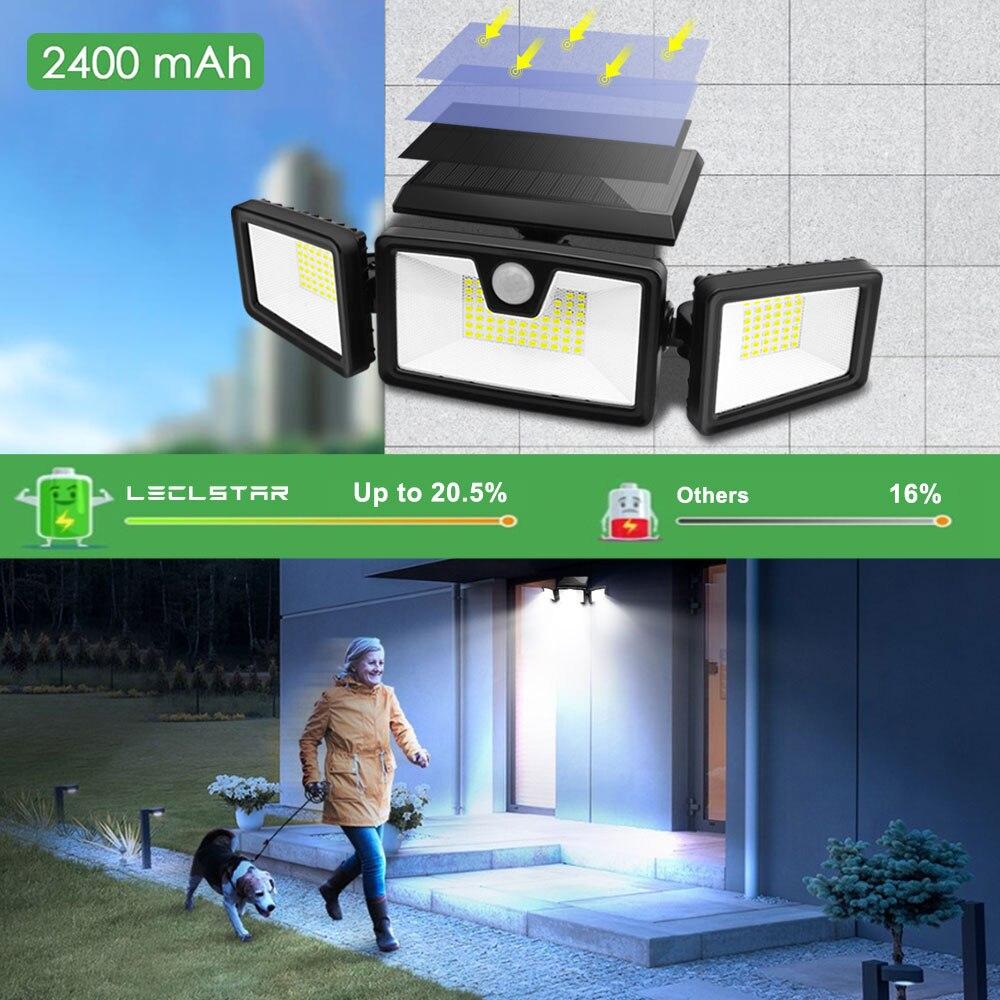 360 ° drehbare Solar Led Licht Outdoor PIR Motion Sensor Scheinwerfer Wasserdichte Solar Power Lampe für Garten Dekoration Weiß/schwarz