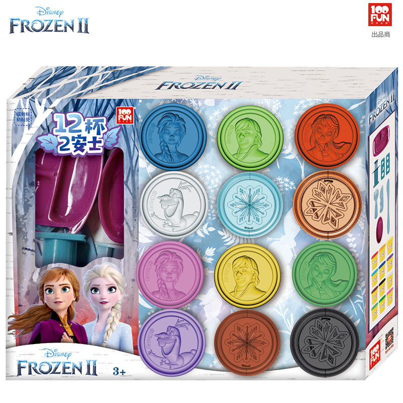 Disney 12 Colors Girls Frozen 2 Princess Clay Light DIY Modelling Clay Slime Soft Intelligent Plasticine Learning Education Toy