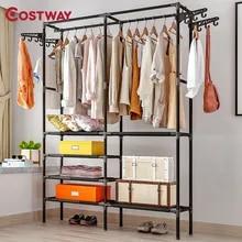 Hanger Coat-Rack Clothing Wardrobe Porte Drying-Racks Storage COSTWAY Kledingrek Manteau
