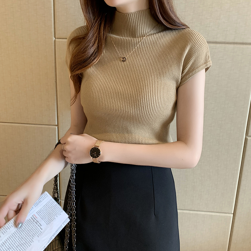 HELIAR Women Knitted T-shirts Turnelneck Tees Plain Tops Solid Knitted Short Sleeve Casual O-neck T-Shirts For Women Summer Tops 2