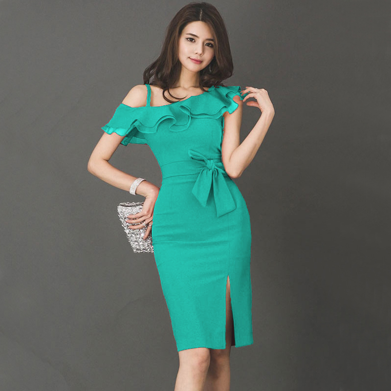 CINESSD Green Red Dress For Women Summer Ruffle Sleeveless One Shoulder Polyester Female Irregular Bodycon Dress With Bow
