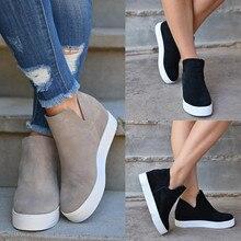Women Platform Hidden Wedges Boots Casual Slip on High-Top Ankle Vulcanize