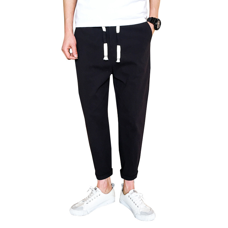 Casual Pants White Trousers Linen Elastic-Waist Men's Summer High-Quality Ankle-Length