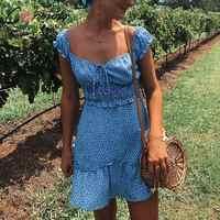 Conmoto Vintage Polka Dot High Waist Short Dress Women 2020 Summer New Casual Fashion Lace up Sexy Off Shoulder Girl Vestidos
