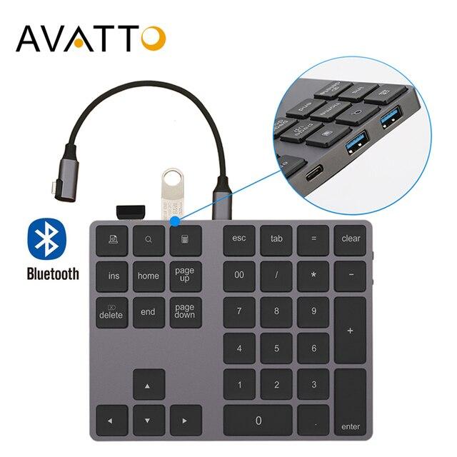 AVATTO Aluminum Alloy Bluetooth Wireless Numeric Keypad with USB HUB Digital Input Function for Windows Mac