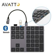 AVATTO alüminyum alaşım Bluetooth kablosuz sayısal tuş takımı USB HUB ile dijital giriş fonksiyonu Windows,Mac OS, android laptop PC