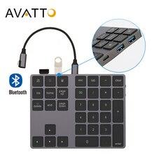 AVATTO aluminiowa bezprzewodowa klawiatura numeryczna Bluetooth z koncentratorem USB wejście cyfrowe funkcja dla Windows,Mac OS,Android laptop PC