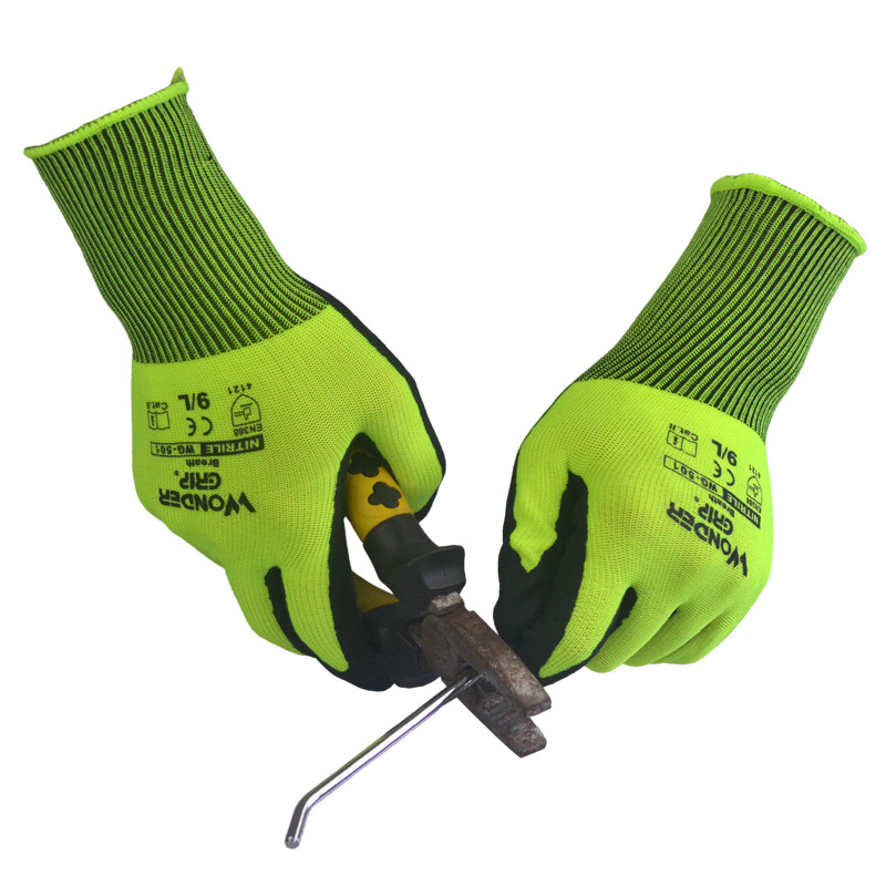 Nitrile Sandy Coating  Work Safety Gloves For Repairman Builder Painter Gardener Agricultural Work Breathable Unisex Work Wear