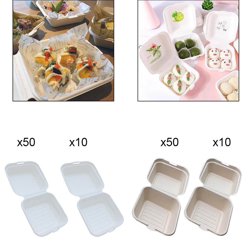 Compostable 6x6 Clamshell Food Containers Bagasse Boxes with Hinged Lid