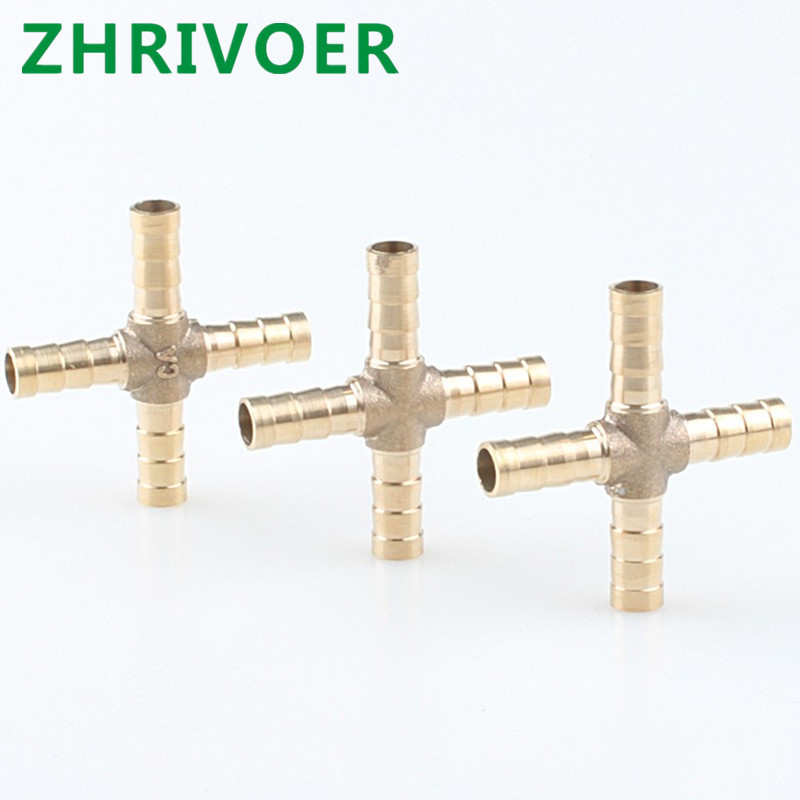 Hose Barb Connector Joint Copper Barbed Coupler Adapter Coupling  4mm 6mm 8mm 10mm 12mm Cross Shaped Brass Pipe Fitting 4 Way