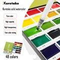 Zig kuretake alta qualidade 48 cores sólido aquarela pintura pigmento campo esboço desenho para pintura arte suprimentos