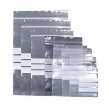 100Pcs Clear Plastic Zip Lock Packaging Bag Reusable Zipper Grip Self Seal for Dry Flower Food Bean Storage with Writable Line