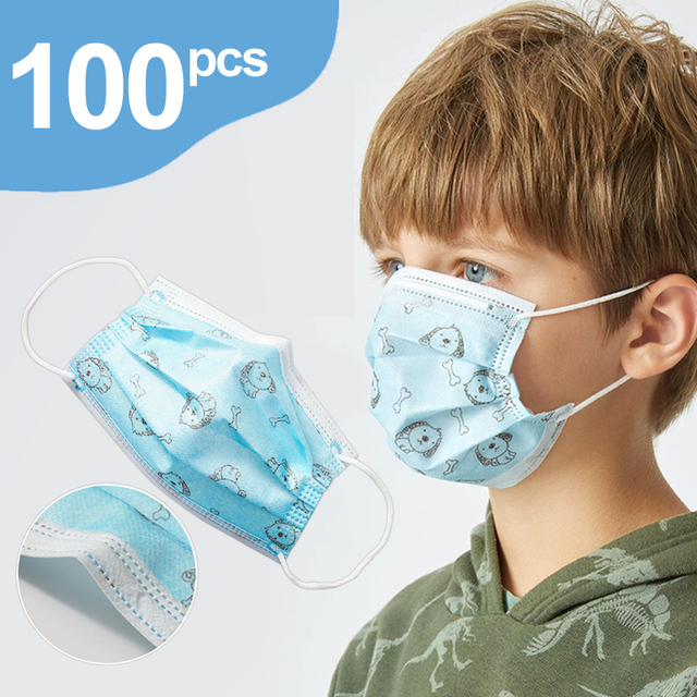 50/100/200Pcs Child Kids Disposable Face Masks 3 Layer Anti-Dust Pollution Masks Fabric Meltblown Dustproof Cartoon Dog Cat Mask 1