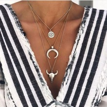 Multilayer Necklace Women Necklaces Fashion Woman Eye Bull Head Pendant Girls Silver Color Exaggerated European Alloy Halskette bull s eye