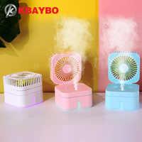 KBAYBO Mini Combo USB humidificador de ventilador humidificador recargable combinado para escritorios de oficina y hogar