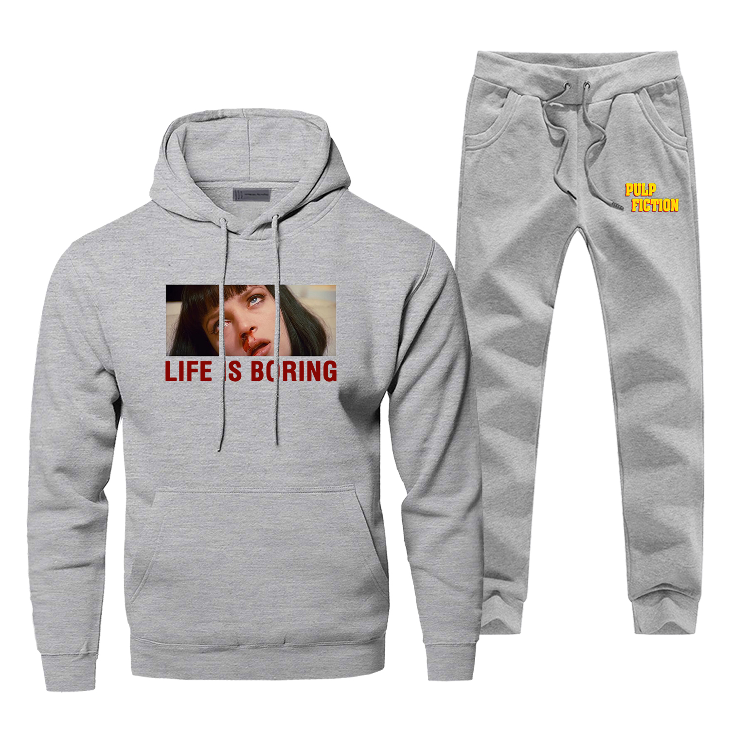 Leon Life Is Boring Hoodie Pants Set Men Sets Classic Movie Suit Hoody Sweatshirt Sweatpants Sportswear Pullover 2 PCS Tracksuit