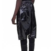 Brand Runway Mens Short Black Patent Leather Drop Crotch Harem Pants Top Quality Hip Hop Casual Loose Fit Elastic Waist Shorts