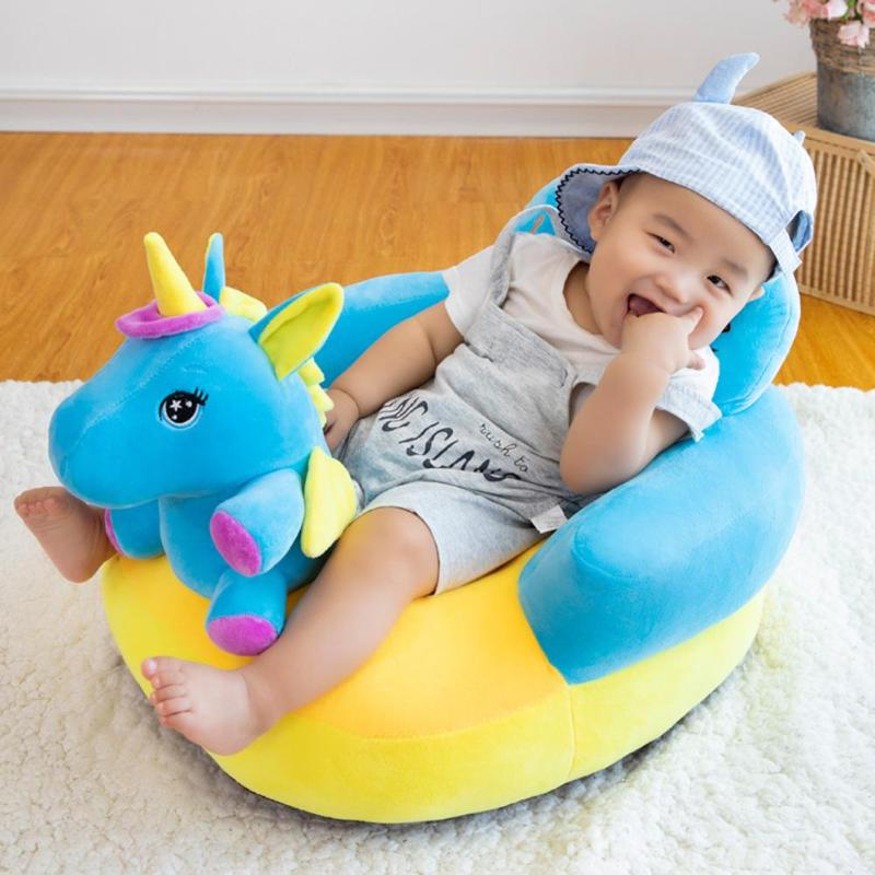 Baby Sofa Support Seat Cover Plush Chair Learning To Sit Cartoon Animal Toddler Nest Puff Washable Only Skin No Filler Cradle
