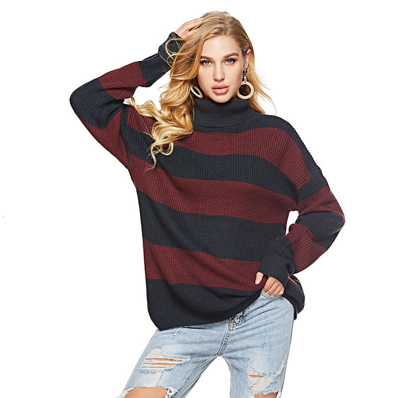 Sweater Women High Collar Striped Casual Knitting Pullovers 2019 Autumn Winter Ladies Jumpers Female Loose Knitwear Tricot Femme