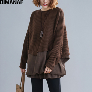 Image 4 - DIMANAF Oversize Autumn Women Sweater Knitting Pullovers Tops Plus Size Female Lady Fashion Casual Batwing Sleeve Basic Clothing