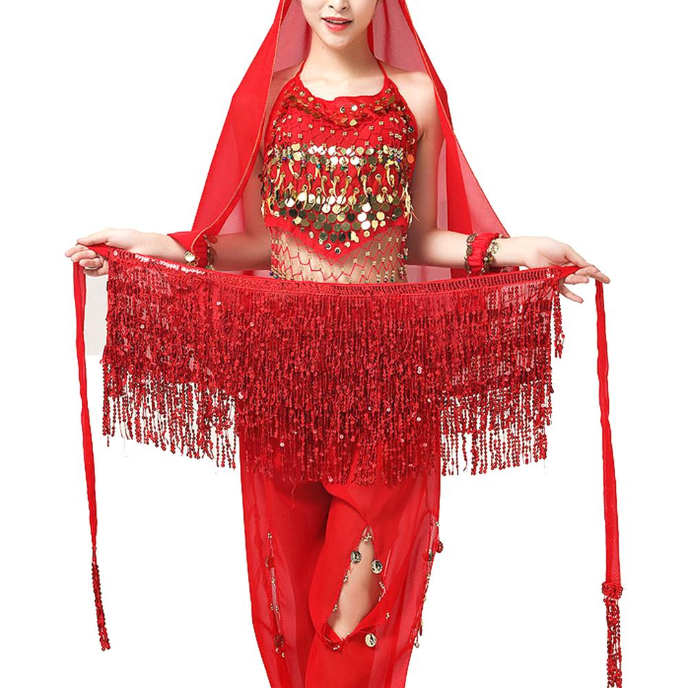 Women Belly Dance Sequin Tassel Fringe Hip Scarf Belt Wraps Skirt Dancer Costume