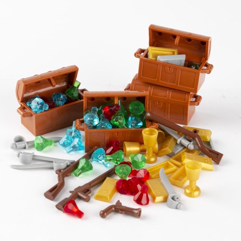 MOC City Accessories Building Blocks Boxes Treasure Diamond Gem Money Gold Silver Cash Cup Parts Weapons Gun Pirate Bricks C116