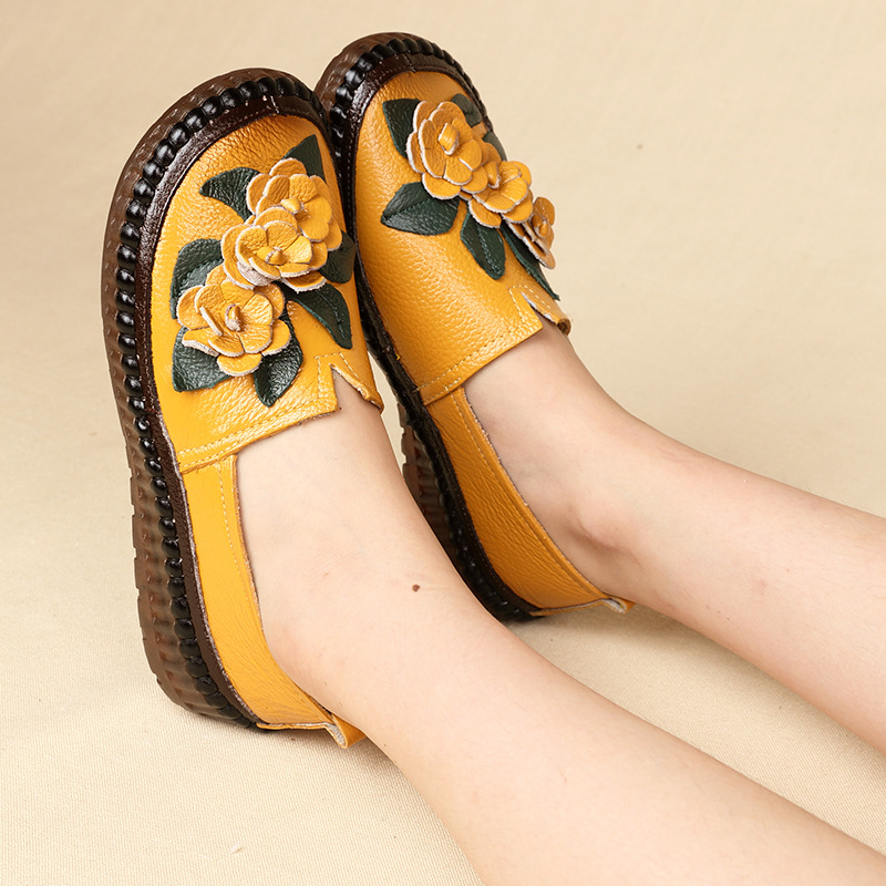 ZIMNAFR 2020 Women Genuine Leather Flats Shoes New Origional Handmade Flower Ethnic-Style Genuine Leather Women Casual Flats