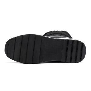 Image 5 - Cales bottes de neige femmes hiver bas longues chaussures plates chaudes femme A324 mode dame noir blanc rouge bout rond plate forme bottines
