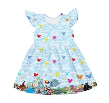 Gorąca sprzedaż letnie dziewczyny moda sukienka niebieski trzepoczący rękaw farm drukuj miłość sukienka