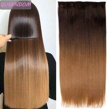 Lange Rechte 5 Clips In Hair Extensions Synthetische Hittebestendige Nep Haarstukken Ombre Een Stuk Haarstukje Blonde Wit Bruin