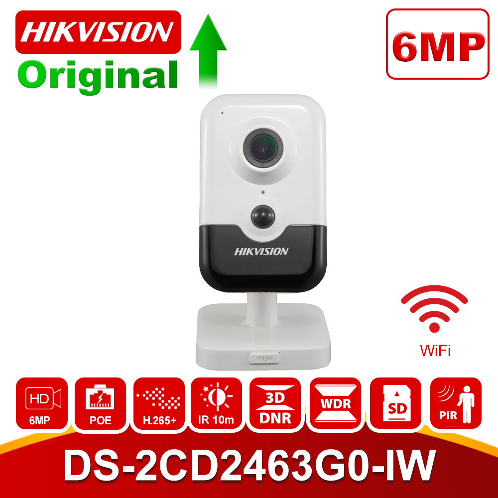 Original Hikvision 6MP WiFi cámara IP DS 2CD2463G0 IW HD cámara de seguridad inalámbrica hogareña H.265 Audio bidireccional ranura SD P2P IR 10M