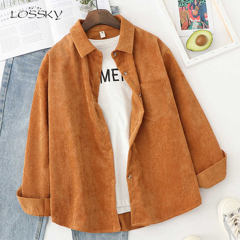 Lossky Corduroy Shirts Button Up Met Lange Mouwen Vrouwen Tops Blouse Solid Wit Losse Stijl Mode Dames Herfst Dames Kleding 2020