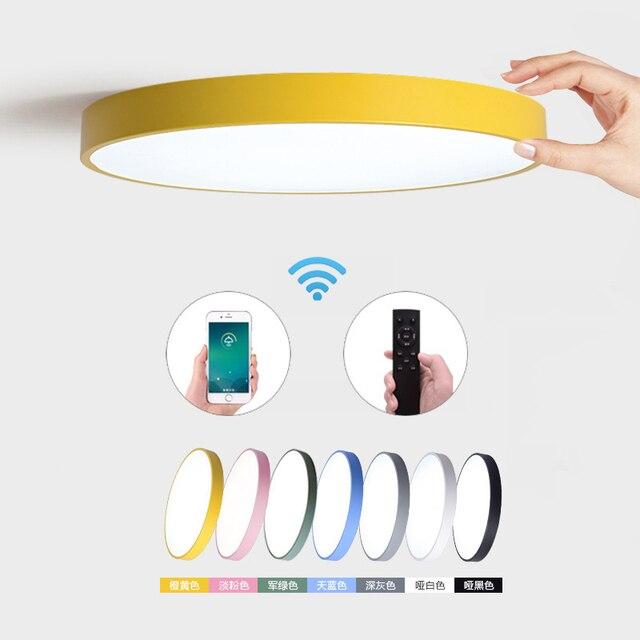 Creativo ultra sottile 5cm Macaron colore LED plafoniera moderna rotonda telecomando lampada camera da letto Foyer Hotel lampada a montaggio superficiale