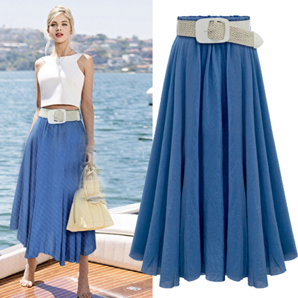 2020 A-line Beach Long Skirts Mid Umbrella Skirt With Belt Femininas Solid Color Maxi Chiffon Skirt Elastic Waist Skirts e2
