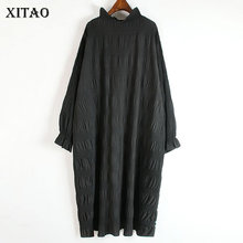 Hem Dress Knitted Loose Small Casual-Style Elegant Fashion XITAO Women Solid-Color ZY1348