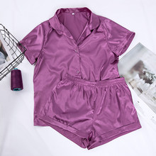 HiLoc solide Satin vêtements de nuit en soie Pyjamas ensemble hauts et Shorts deux pièces ensemble Pyjamas femmes pyjama à manches courtes maison costume décontracté