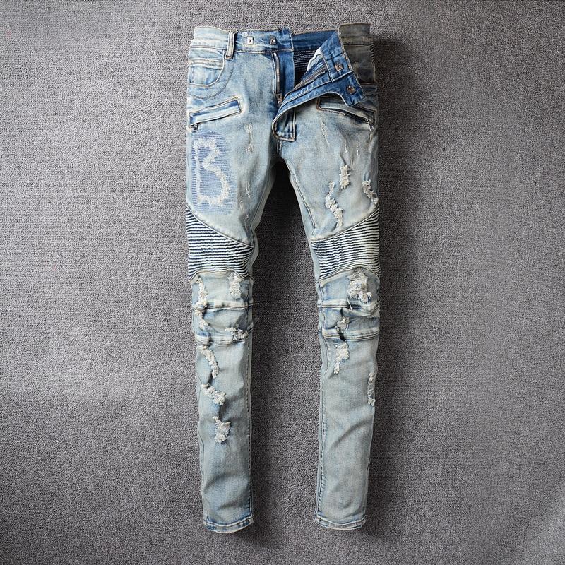 Fashion Streetwear Men Jeans Retro Blue Destroyed Ripped Jeans Men Hip Hop Pants Embroidery Spliced Designer Biker Jeans Homme