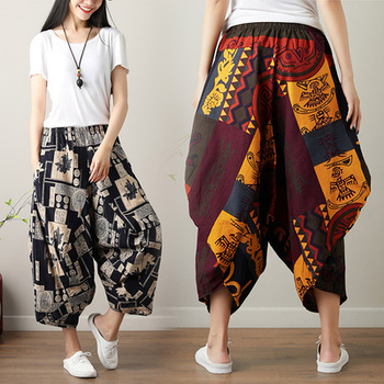 Autumn National Style Printed Large Size Cotton And Linen Wide Leg Pants Loose Elastic Waist Pleated Women Vintage Trousers